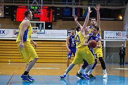 Cebular Sandi of KK Tajfun Sentjur and Jersin Boris & Pavic Smiljan of KK Sencur GGD during basketball match between KK Sencur  GGD and KK Tajfun Sentjur for Spar cup 2016, on 16th of February , 2016 in Sencur, Sencur Sports hall, Slovenia. Photo by Grega Valancic / Sportida.com