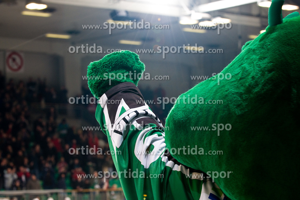 Official mascot of Olimpija Hoki celebrates victory during ice-hockey match between HDD Tilia Olimpija and EC KAC in 32nd Round of EBEL league, on December 30, 2010 at Hala Tivoli, Ljubljana, Slovenia. (Photo By Matic Klansek Velej / Sportida.com)