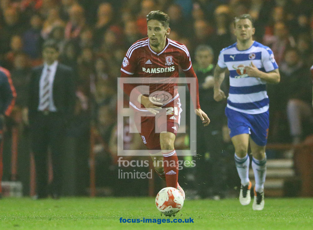 Gaston Ramirez (c) of Middlesbrough during the Sky Bet Championship match at the Riverside Stadium, Middlesbrough<br /> Picture by Simon Moore/Focus Images Ltd 07807 671782<br /> 12/04/2016