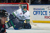 KELOWNA, CANADA - OCTOBER 10:  Liam Hughes #30 of the Seattle Thunderbirds defends the net against the Kelowna Rockets on October 10, 2018 at Prospera Place in Kelowna, British Columbia, Canada.  (Photo by Marissa Baecker/Shoot the Breeze)  *** Local Caption ***