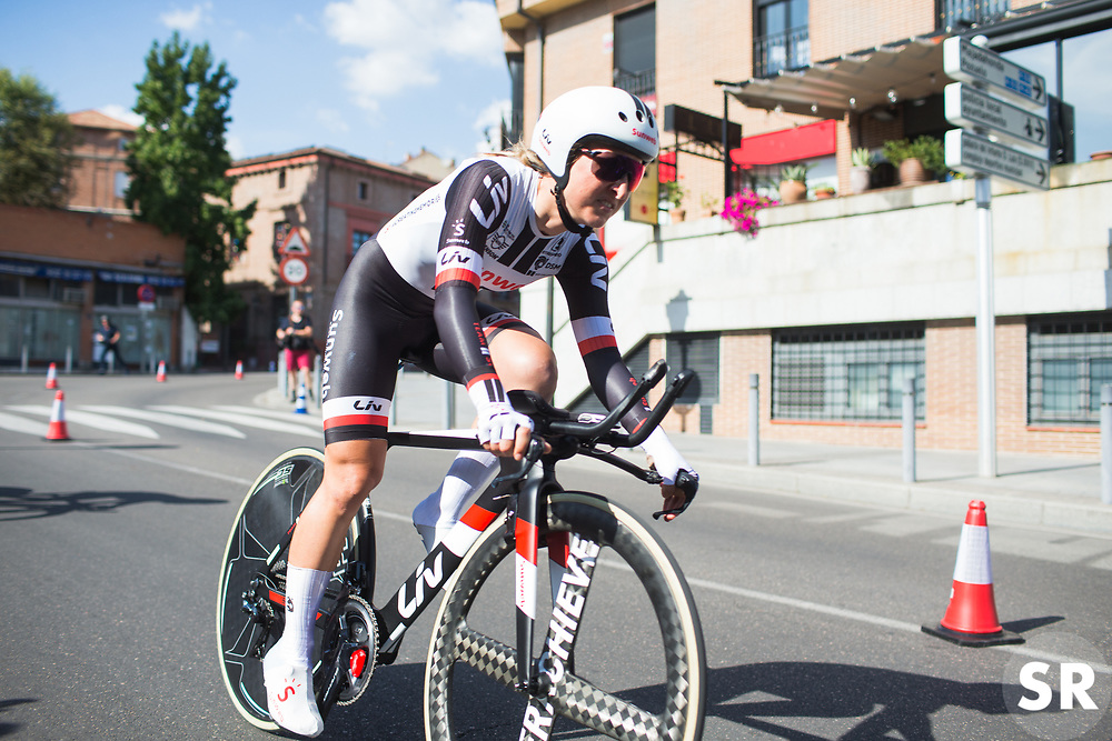 Leah Kirchmann (CAN) of Team Sunweb digs deep on Stage 1 of the Madrid Challenge - a 12.6 km team time trial, starting and finishing in Boadille del Monte on September 15, 2018, in Madrid, Spain. (Photo by Balint Hamvas/Velofocus.com)