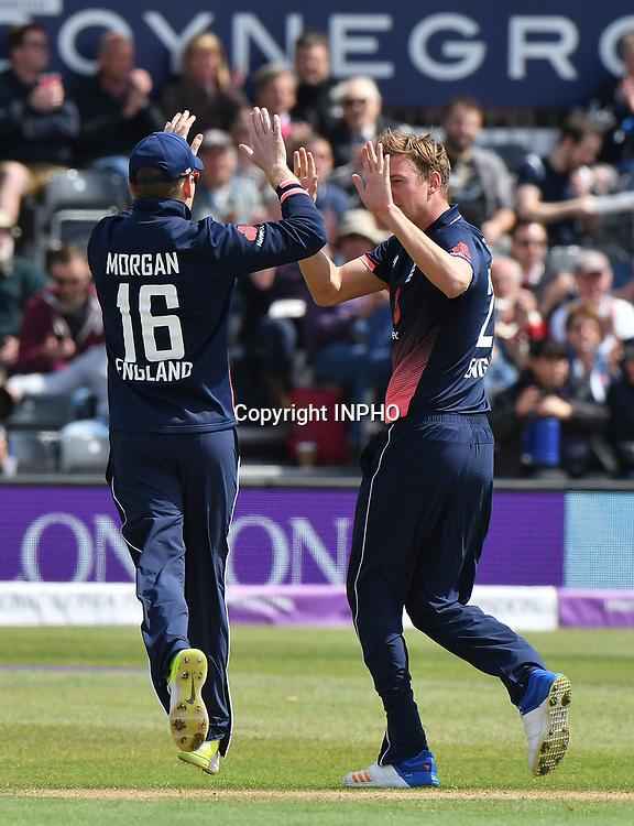 1st One Day International, Bristol Cricket Ground, England 5/5/2017<br /> England vs Ireland<br /> England captain Eoin Morgan celebrates a wicket<br /> Mandatory Credit &copy;INPHO/Presseye/Rowland White