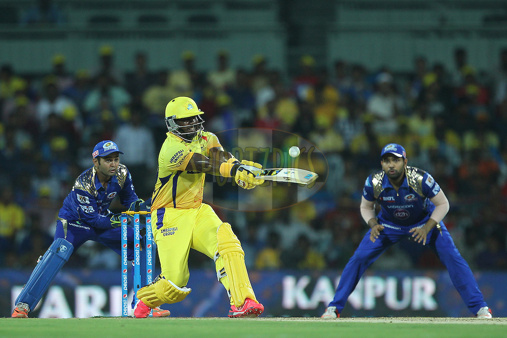 Dwayne Smith of the Chennai Superkings edges the ball over the top during match 43 of the Pepsi IPL 2015 (Indian Premier League) between The Chennai Superkings and The Mumbai Indians held at the M. A. Chidambaram Stadium, Chennai Stadium in Chennai, India on the 8th May April 2015.<br /> <br /> Photo by:  Ron Gaunt / SPORTZPICS / IPL