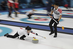 February 11, 2018 - Gangneung, GANGWON, SOUTH KOREA - Feb 11, 2018-Gangneung, South Korea-Lee Ki Jeong, Jang Hye Ji of South Korea action during the 2018 Pyeongchang Winter Olympic Curling Mix Double Session 7th D Korea v Canada at Curling Center in Gangneung, South Korea. (Credit Image: © Gmc via ZUMA Wire)