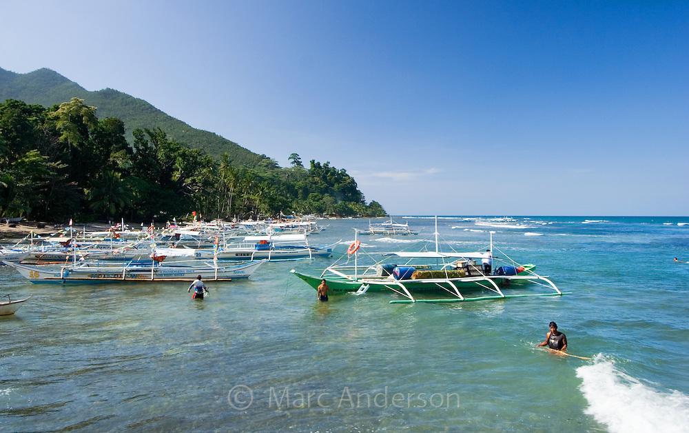 Boats moored in a small bay, Sabang, Palawan, Philippines