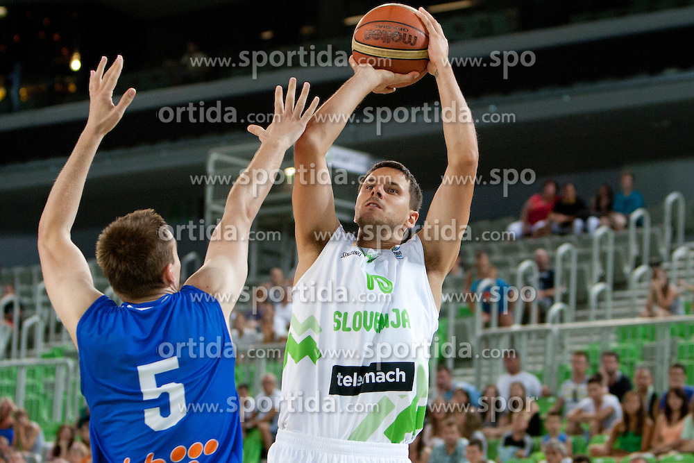 Ante Masic of Bosnia and Bostjan Nachbar of Slovenia during friendly basketball match between National teams of Slovenia and Bosnia i Hercegovina of Adecco Ex-Yu Cup 2012 as part of exhibition games 2012, on August 3rd, 2012, in Arena Stozice, Ljubljana, Slovenia. (Photo by Urban Urbanc / Sportida)