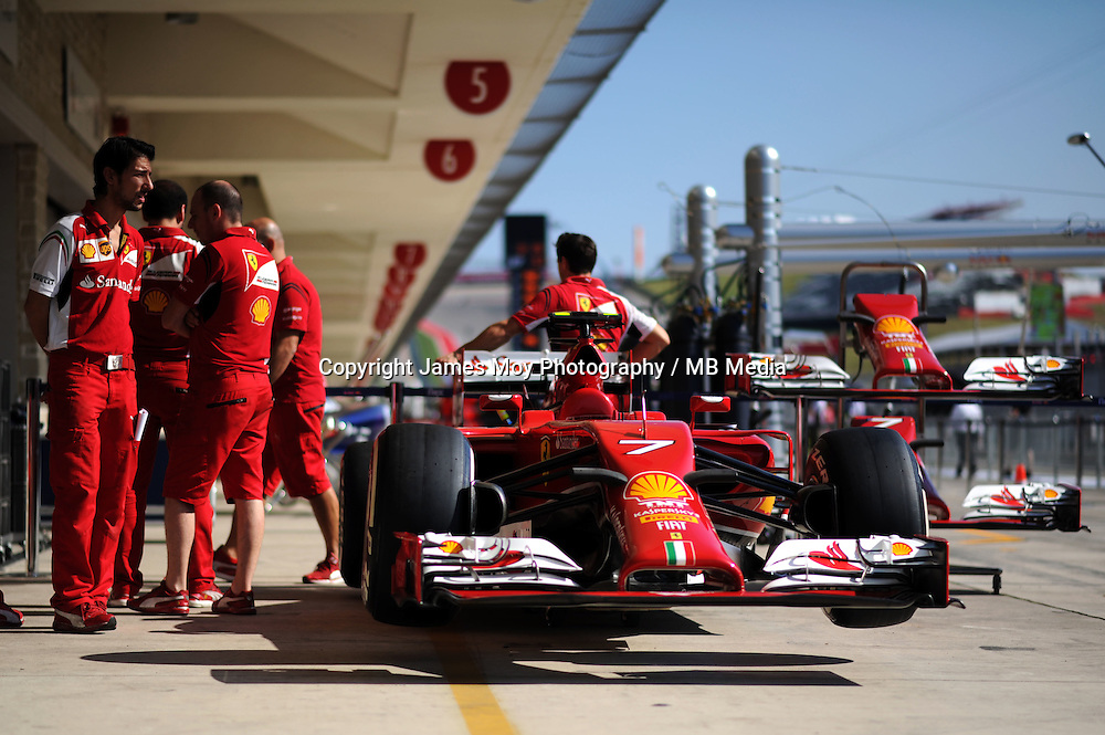 Ferrari F14-T.<br /> United States Grand Prix, Thursday 30th October 2014. Circuit of the Americas, Austin, Texas, USA.