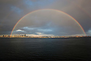 Rainbow over Elliott Bay and Seattle, Washongton, USA