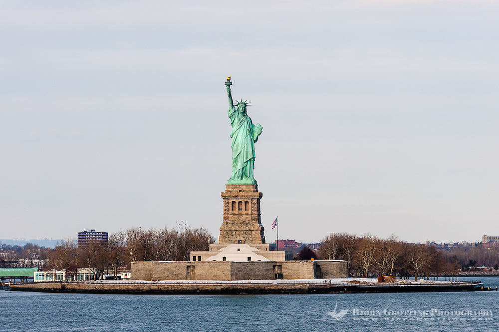 US, New York City. Statue of Liberty seen from the Staten Island Ferry.