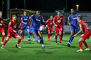 AFC Wimbledon defender Paul Kalambayi (30) dribbling in the box during the Leasing.com EFL Trophy match between AFC Wimbledon and Leyton Orient at the Cherry Red Records Stadium, Kingston, England on 8 October 2019.
