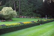 Buchart Gardens; grass; shrubs; flowers; people; Vancouver Island; British Columbia; Canada