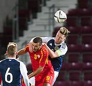 Scotland's Jordan McGhee beats FYR Macedonia's Marjan Radeski in the airduring Scotland Under-21 v FYR Macedonia,  UEFA Under 21 championship qualifier  at Tynecastle, Edinburgh. Photo: David Young<br /> <br />  - © David Young - www.davidyoungphoto.co.uk - email: davidyoungphoto@gmail.com