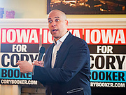 31 DECEMBER 2019 - ANKENY, IOWA: US Senator CORY BOOKER (D-NJ) talks to the guests at a campaign house party in Ankeny, a suburb of Des Moines. Sen Booker is campaigning in Iowa over New Years to support his candidacy for the US Presidency. Iowa traditionally holds the first event of the presidential election cycle. The Iowa caucuses are Feb. 3, 2020.        PHOTO BY JACK KURTZ
