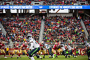 San Francisco 49ers quarterback C.J. Beathard (3) looks for an open receiver against the Seattle Seahawks at Levi's Stadium in Santa Clara, Calif., on November 26, 2017. (Stan Olszewski/Special to S.F. Examiner)