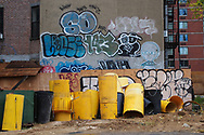 Graffiti on an empty lot near the Javitz Center.