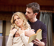 Sex with Strangers <br /> by Laura Eason<br /> Directed by Peter DuBois<br /> at the Hampstead Theatre, London, Great Britain <br /> 1st February 2017 <br /> press photocall <br /> <br /> <br /> Emilia Fox as Olivia<br /> Theo James as Ethan<br /> <br /> <br /> <br /> <br /> <br /> Photograph by Elliott Franks <br /> Image licensed to Elliott Franks Photography Services