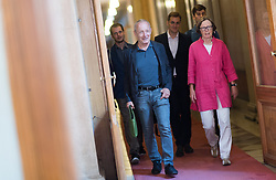 12.07.2017, Parlament, Wien, AUT, Parlament, Untersuchungsausschuss betreffend der Beschaffung von Kampfflugzeugen des Typs Eurofighter. im Bild v.l.n.r. U-Ausschuss Fraktionsführer der Grünen Peter Pilz und Stv. Klubobfrau der Grünen Gabriela Moser // f.l.t.r. Member of Parliament and Security Speakesman of the greens Peter Pilz and Assistant.leader of the parliamentary group the greens Gabriela Moser during meeting of parliamentary enquiry committee according to the procurement of Eurofighter aircrafts at austrian parliament in Vienna, Austria on 2017/07/12, EXPA Pictures © 2017, PhotoCredit: EXPA/ Michael Gruber