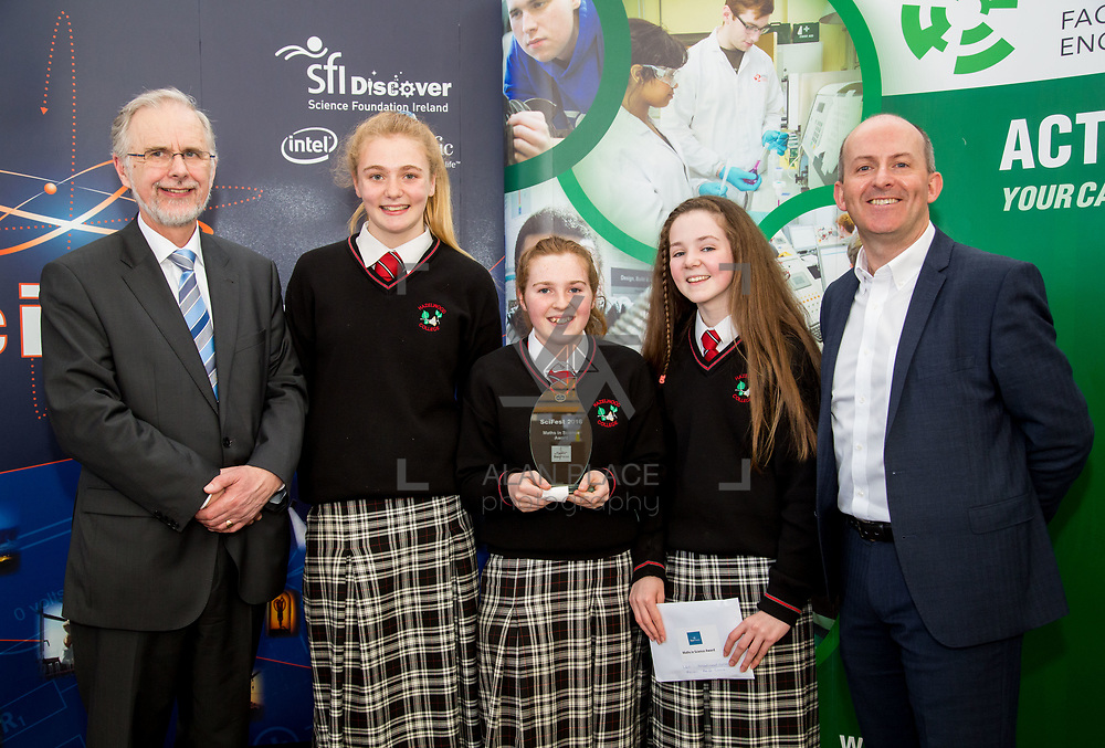 27.04.2016.          <br />  Kalin Foy and Ciara Coyle win SciFest@LIT<br /> Kalin Foy and Ciara Coyle from Colaiste Chiarain Croom to represent Limerick at Ireland&rsquo;s largest science competition.<br /> <br /> Hazelwood College students, Roisin Normoyle, Aoife O'Callaghan and Ciara McCarthy's project, Does wisdom come with age?, won the EPISTEM best use of maths project. Roisin Normoyle, Aoife O'Callaghan and Ciara McCarthy are  pictured with George Porter, SciFest and Brian Aherne, Intel<br /> <br /> Of the over 110 projects exhibited at SciFest@LIT 2016, the top prize on the day went to Kalin Foy and Ciara Coyle from Colaiste Chiarain Croom for their project, &lsquo;To design and manufacture wireless trailer lights&rsquo;. The runner-up prize went to a team from John the Baptist Community School, Hospital with their project on &lsquo;Educating the Youth of Ireland about Farm Safety&rsquo;.  Picture: Alan Place
