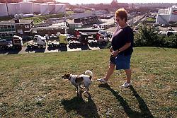 Vopak in Ipswich. Fuel blockade. Liz Harsant, chairman of Ipswich Conservative Party walks her dog Bob past the blockade, September 12, 2000..Photo by Andrew Parsons/i-Images..