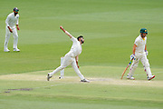 16th December 2018, Optus Stadium, Perth, Australia; International Test Series Cricket, Australia versus India, second test, day 3; Jasprit Bumrah of India bowls during Australias second innings as Aaron Finch of Australia looks on