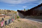 A wall sarates Nogales, Arizona, USA from Nogales, Sonora, Mexico, as seen from Arizona.