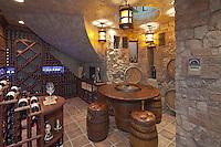 Private wine cellar in basement of villa