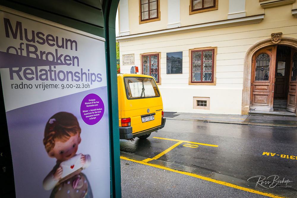 Entrance to the Museum of Broken Relationships in old town Gradec, Zagreb, Croatia