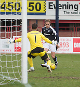 Dundee&rsquo;s Greg Stewart bears down on goal - Dundee v Hearts - Ladbrokes Premiership at Dens Park <br />  - &copy; David Young - www.davidyoungphoto.co.uk - email: davidyoungphoto@gmail.com