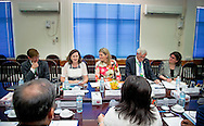 30-3-2015 YANGON MYANMAR -  Queen Maxima meets with  Renata Lok- Dessallien  Vn coordinator voor de vn t UNDP compound Queen Maxima visits in its capacity as special advocate of the Secretary-General of the United Nations for inclusive finance for development (inclusive finance for development) Myanmar on Monday, March 30 to Wednesday, April 1st, 2015. COPYRIGHT ROBIN UTRECHT