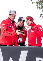 13.03.2019, Granasen, Trondheim, NOR, FIS Weltcup Skisprung, Raw Air, Trondheim, Qualifikation, Herren, im Bild Co Trainer Florian Liegl (AUT), Physiotherapeut Benedikt Freund (AUT), Co Trainer Florian Schabereiter (AUT) // Assistent Coach Florian Liegl of Austria Physiotherapist Benedikt Freund of Austria Assistent Coach Florian Schabereiter of Austria during the men's qualification of the 3rd Stage of the Raw Air Series of FIS Ski Jumping World Cup at the Granasen in Trondheim, Norway on 2019/03/13. EXPA Pictures © 2019, PhotoCredit: EXPA/ JFK