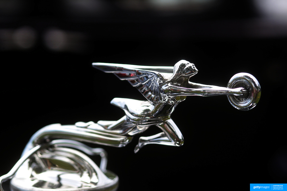 The emblem on a 1931 Packard 833 at the Greenwich Concours d'Elegance Festival of Speed and Style featuring great classic vintage cars. Roger Sherman Baldwin Park, Greenwich, Connecticut, USA.  2nd June 2012. Photo Tim Clayton