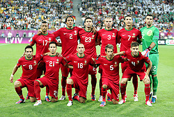 10-06-2012 VOETBAL: UEFA EURO 2012 DAY 3: POLEN OEKRAINE<br /> UEFA Euro 2012 Group B Match between Germany and Portugal at the Arena Lviv, Lviv, Ukraine / Teamphoto Portugal<br /> ***NETHERLANDS ONLY***<br /> ©2012-FotoHoogendoorn.nl