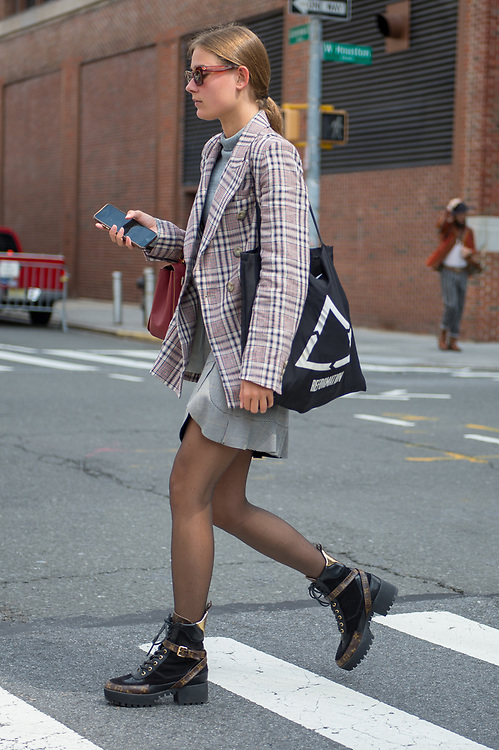 Model Off Duty in Plaid, NYFW SS2018