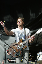 Kings of Leon on the main stage, T in the Park, Sunday 8 July 2007..T in the Park festival took place on the 6th, 7th and 8 July 2007, at Balado, near Kinross in Perth and Kinross, Scotland. This was the first time the festival had been held over three days..Pic ©Michael Schofield. All Rights Reserved..