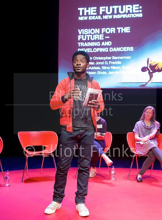 Dance UK&rsquo;s The Future: New Ideas, New Inspiration - the UK&rsquo;s first industry-wide conference Day 3<br /> 12th April 2015 at Sadler&rsquo;s Wells, London, Great Britain<br /> <br /> A wide range of topics were covered throughout the conference, culminating in Emerging Artists: Training, Creativity and Choreography.<br /> <br /> Sidi Larbi Cherkaoui<br /> Alistair Spalding CBE<br /> Wayne McGregor CBE<br /> Dr. Christopher Bannerman<br /> Jonzi D<br /> Freddie Opoku-Addaie<br /> Stine Nilsen<br /> Seeta Patel<br /> Helen Shute<br /> Theo Van Rompay<br /> Prof. Jason Beechey<br /> Lawrence Rhodes<br /> Jane Hackett<br /> Adam Galbraith<br /> Polly Risbridger<br /> Lucy Bennett<br /> Veronica Jobbins<br /> Shelia Dickie<br /> Kirin Sinha<br /> <br /> <br /> Photograph: Elliott Franks