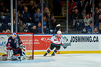 KELOWNA, CANADA - DECEMBER 27: Dylan Ferguson #31 of the Kamloops Blazers reacts to a shoot out win scored by Liam Kindree #26 of the Kelowna Rockets on December 27, 2017 at Prospera Place in Kelowna, British Columbia, Canada.  (Photo by Marissa Baecker/Shoot the Breeze)  *** Local Caption ***
