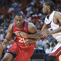 14 March 2010: Philadelphia 76ers forward Thaddeus Young drives past Miami Heat forward Udonis Haslem during the Miami Heat 100-89 victory over the Philadelphia 76ers at the AmericanAirlines  Arena, in Miami, Florida, USA.