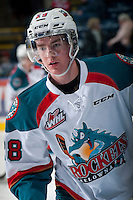KELOWNA, CANADA - MARCH 7: Joe Gatenby #28 of Kelowna Rockets warms up against the Spokane Chiefs  on March 7, 2015 at Prospera Place in Kelowna, British Columbia, Canada.  (Photo by Marissa Baecker/Shoot the Breeze)  *** Local Caption *** Joe Gatenby;