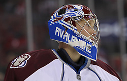 Oct 15; Newark, NJ, USA; Colorado Avalanche goalie Craig Anderson (41) takes a break during the second period of their game against the New Jersey Devils at the Prudential Center.