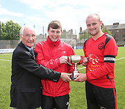 Dundee Thistle Sean Howie (centre) and captain Damien Coogan (right) are presented with the Dundee Saturday Morning Football League Premier Division Championship trophy by referee's secretary Brian Connelly <br /> <br />  - &copy; David Young - www.davidyoungphoto.co.uk - email: davidyoungphoto@gmail.com