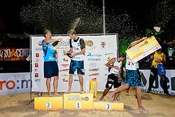 Danijel Pokersnik and Jernej Potocnik with champagnes at Beachmaster 2011 tournament for Slovenian BeachTour on July 22, 2011, in Ptuj, Slovenia. (Photo by Matic Klansek Velej / Sportida)