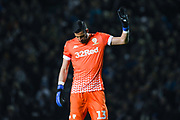 Leeds United goalkeeper Francisco Casilla (13) changes kit at half time during the EFL Sky Bet Championship match between Leeds United and West Bromwich Albion at Elland Road, Leeds, England on 1 October 2019.
