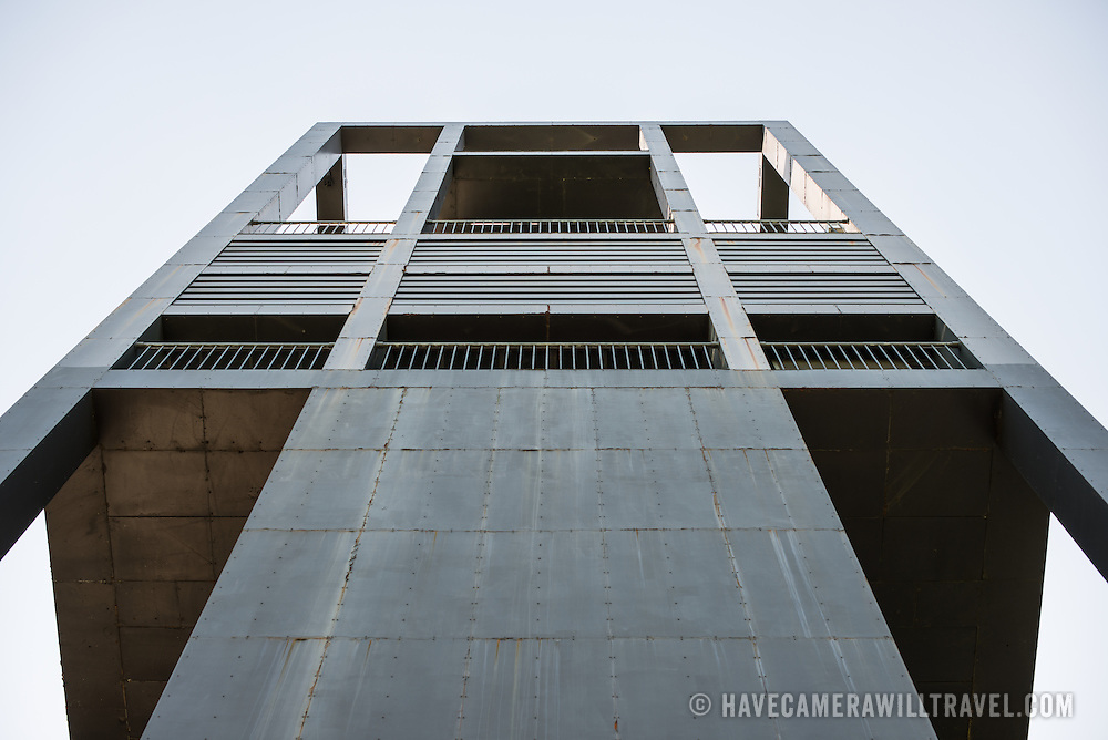 Looking up at the eastern face of the Netherlands Carillon next to Arlington National Cemetery and the Iwo Jima Memorial. First donated in 1954, the Carillon was moved to its current location in 1960. It was a gift of the Netherlands to the United States in thanks for US aid during World War II.