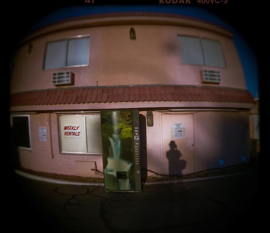 A vending machine outside of a motel in Las Vegas.