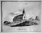 Nineteenth century picture engraving print of church at Withersdale, Suffolk, England, UK