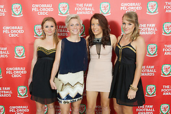 CARDIFF, WALES - Monday, October 8, 2012: Wales' women's players Sarah Wiltshire, Jessica Fishlock, Angharad James, Sophie Green during the FAW Player of the Year Awards Dinner at the National Museum Cardiff. (Pic by David Rawcliffe/Propaganda)