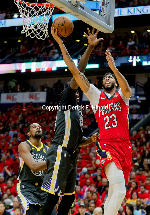 May 6, 2018; New Orleans, LA, USA; New Orleans Pelicans forward Anthony Davis (23) shoots over Golden State Warriors forward Draymond Green (23) during the fourth quarter in game four of the second round of the 2018 NBA Playoffs at the Smoothie King Center. The Warriors defeated the Pelicans 118-92. Mandatory Credit: Derick E. Hingle-USA TODAY Sports