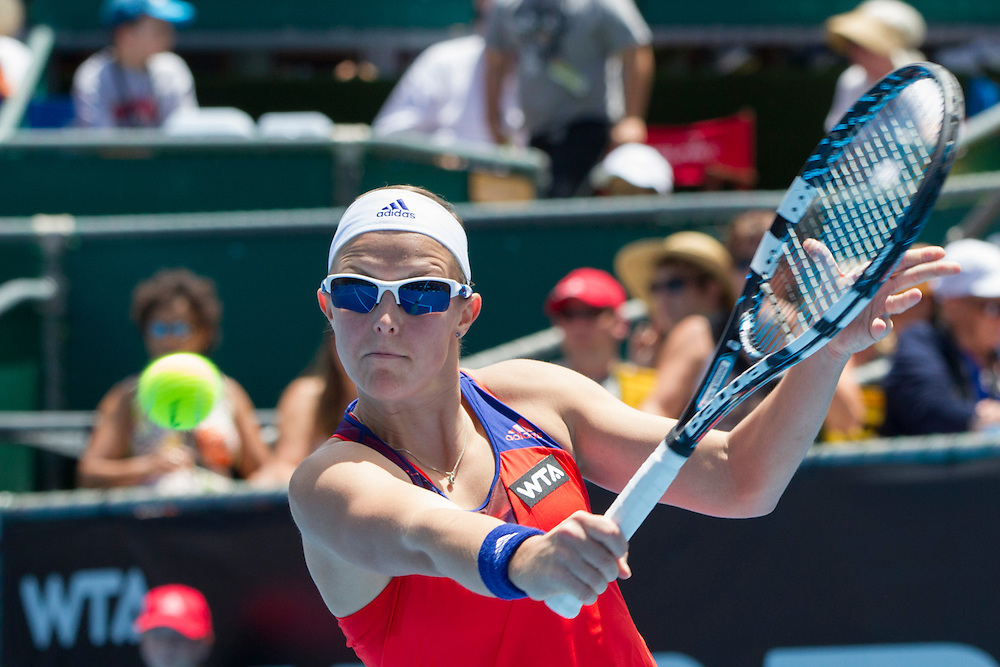 Belgium's Kirsten Flipkens plays Puerto Rico's Monica Puig in round 1 of the singles at the ASB Classic Women's Tennis Tournament, ASB Tennis Arena, Auckland, New Zealand, Tuesday, December 31, 2013.  Credit:SNPA / David Rowland