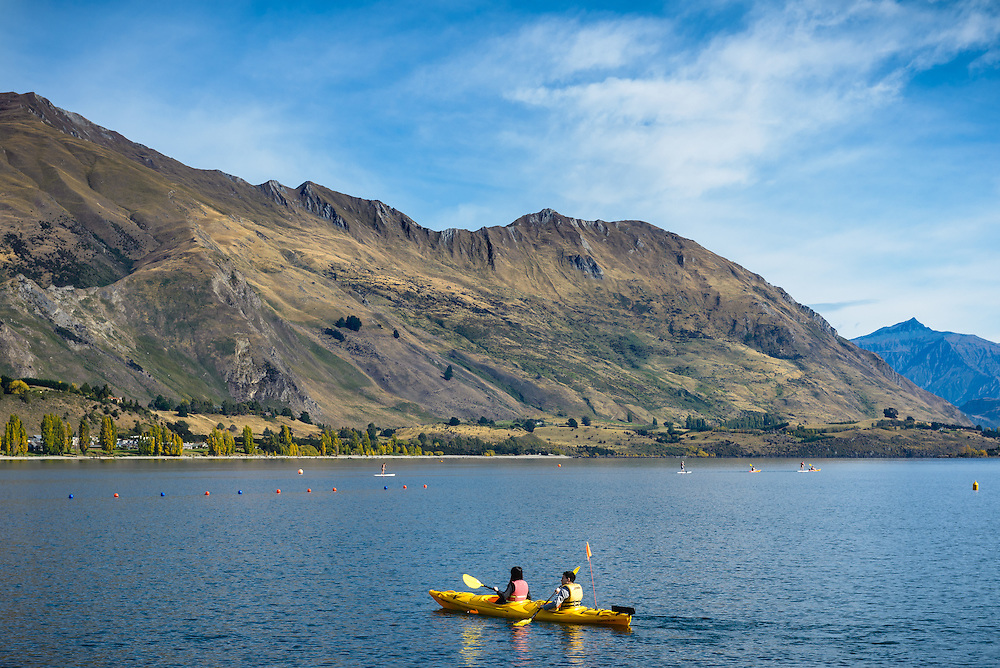 Paddling canoes on Lake Wanaka