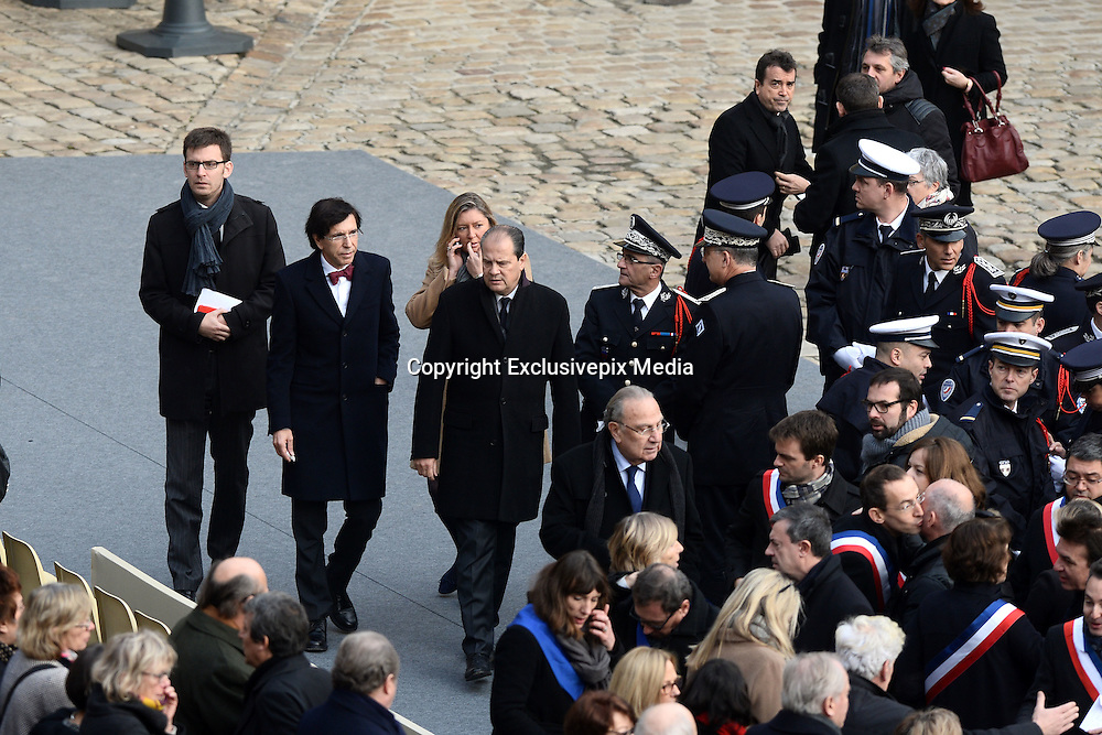 TRIBUTE TO THE VICTIMS OF 13 November 2015 in PARIS<br /> Elio Di Rupo - Jean-Christophe Cambadélis - Arnaud Lagardère<br /> ©Exclusivepix Media